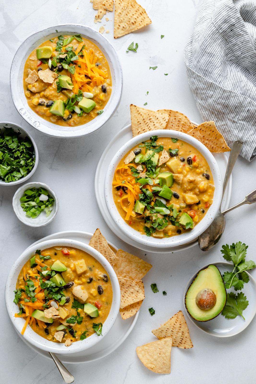 three bowls of southwest chicken corn chowder