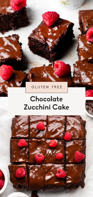 collage of healthy chocolate zucchini cake