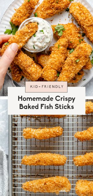 collage of healthy baked fish sticks