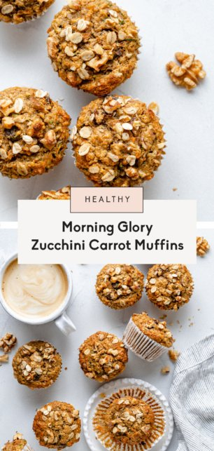 collage of zucchini carrot muffins