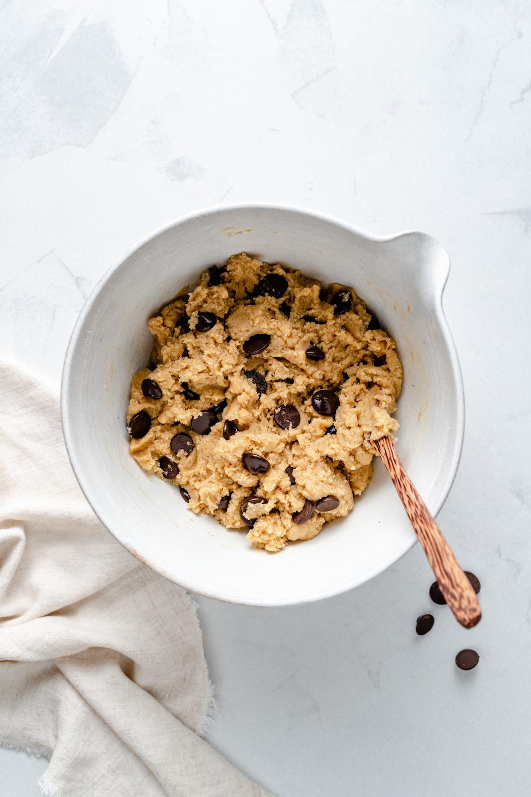 grain free almond flour chocolate chip cookie dough in a bowl