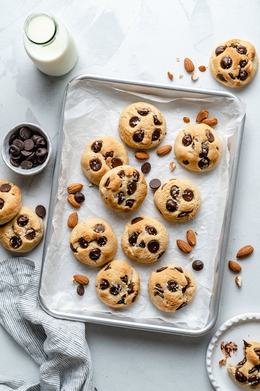 healthy almond flour chocolate chip cookies on a baking sheet