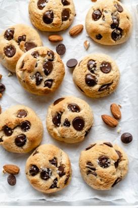 almond flour chocolate chip cookies on parchment paper