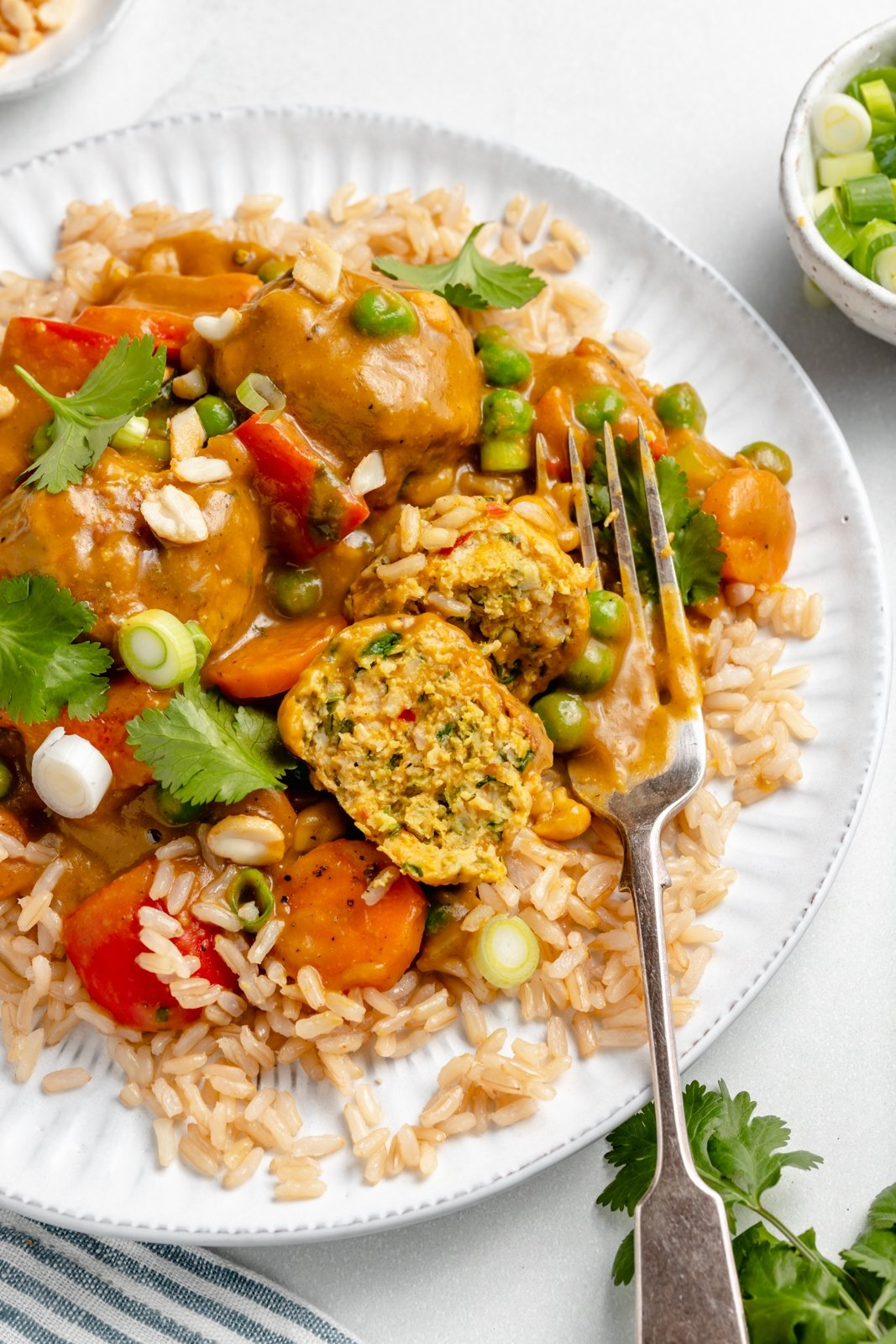 healthy pumpkin curry chicken meatballs on a plate with rice