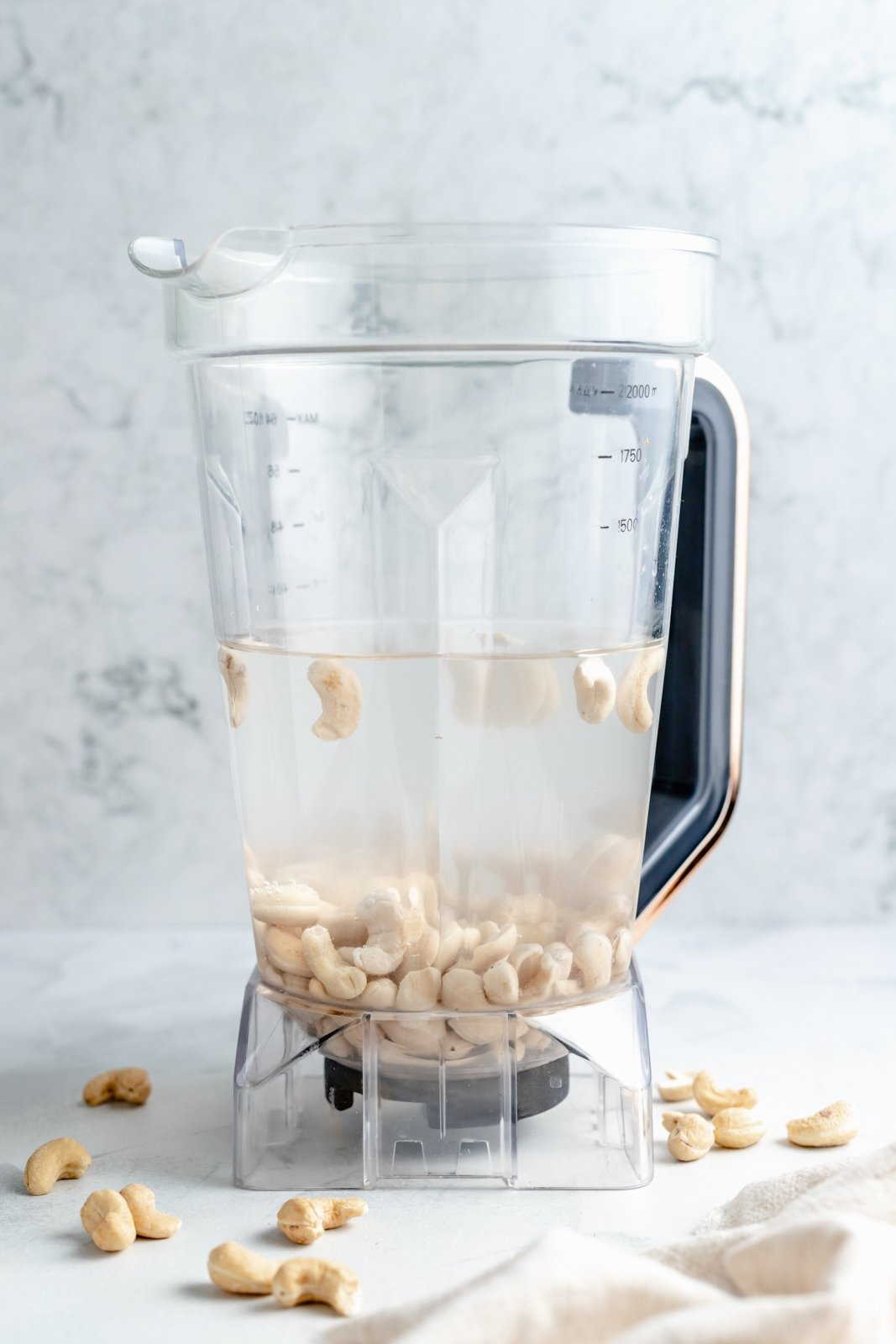 Ingredients for a cashew milk recipe in the mixer