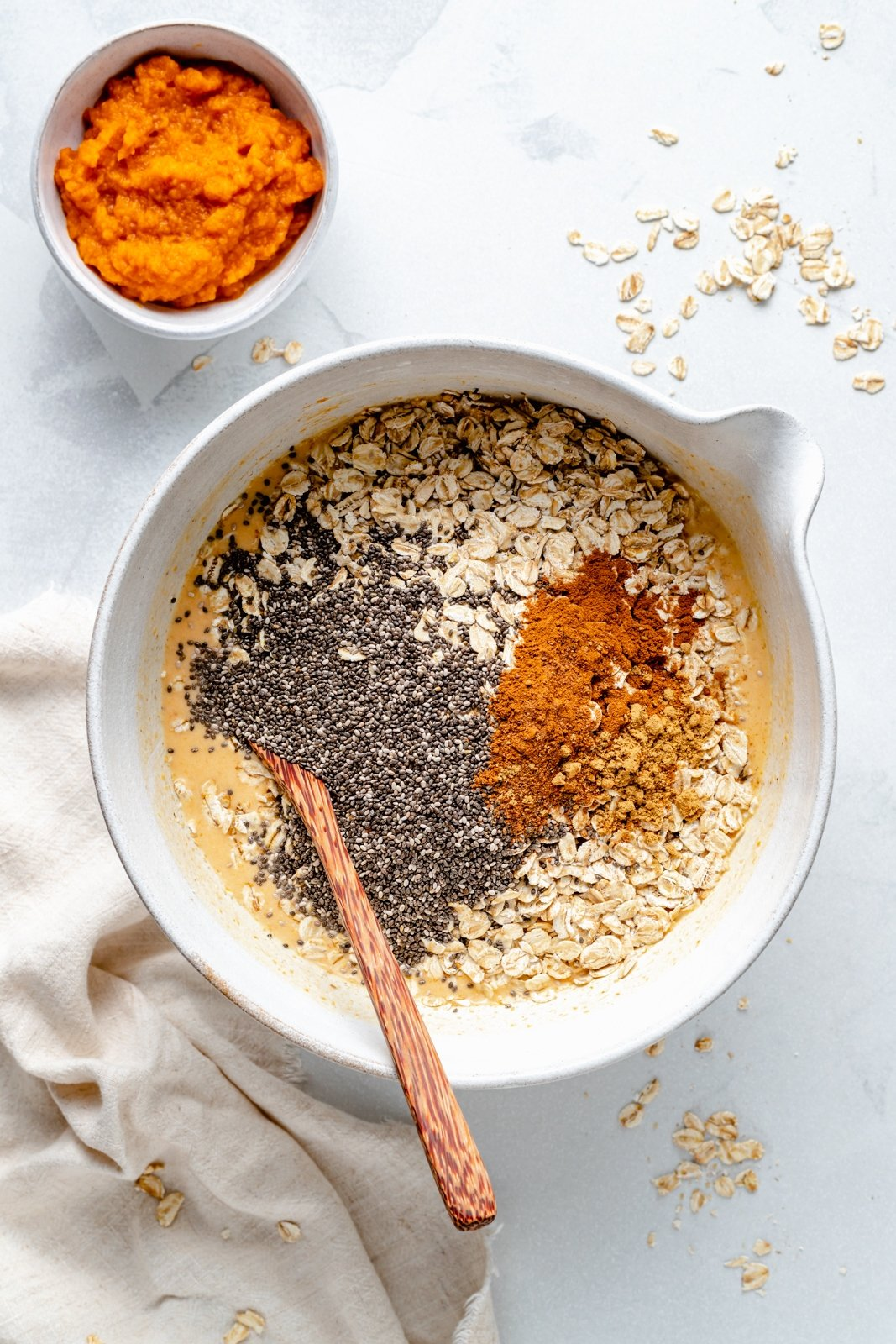 mixing ingredients for overnight oats in a bowl