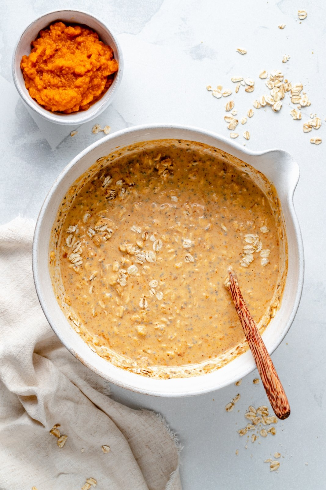 healthy pumpkin overnight oats in a bowl