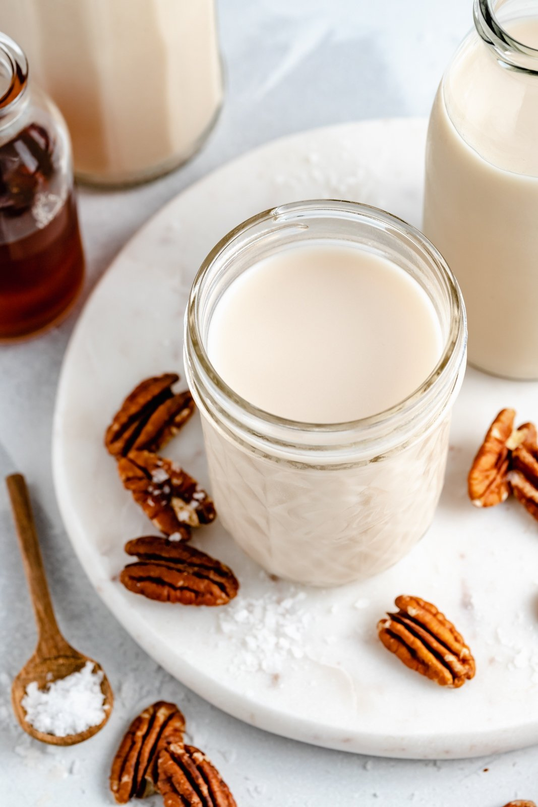 homemade pecan milk in a glass