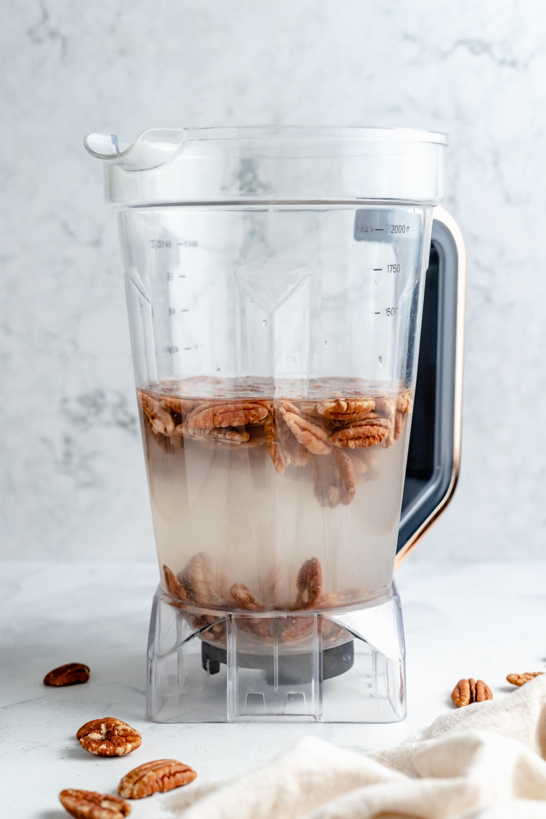 ingredients in a blender to make the best pecan milk recipe