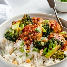 sesame chicken meatball bowls with broccoli and rice