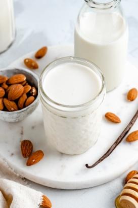 homemade almond milk in a glass