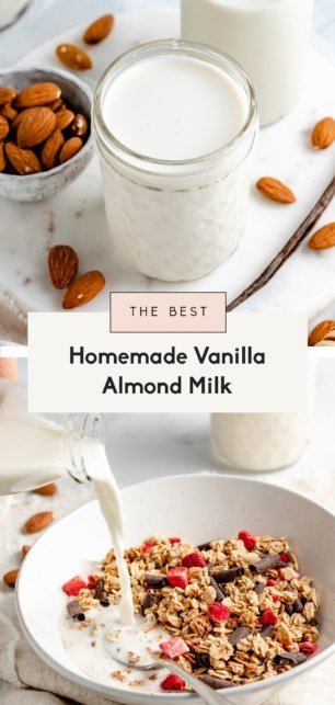 collage of homemade almond milk