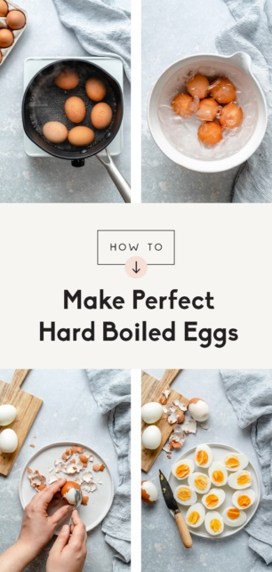 collage of how to make hard boiled eggs