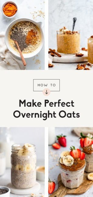collage of how to make overnight oats
