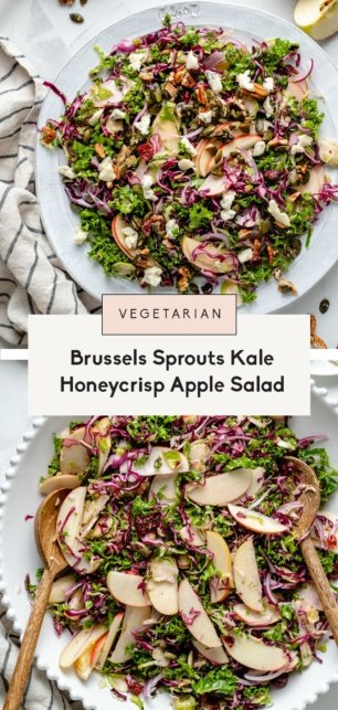 collage of a brussels sprouts kale apple salad