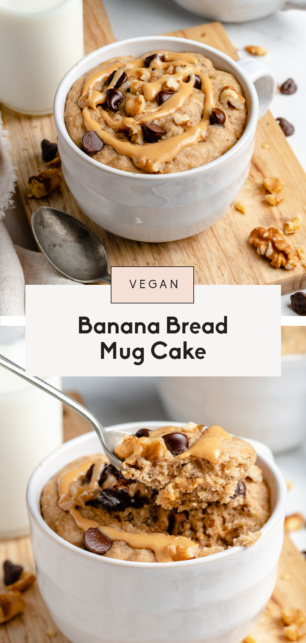 collage of vegan banana mug cake