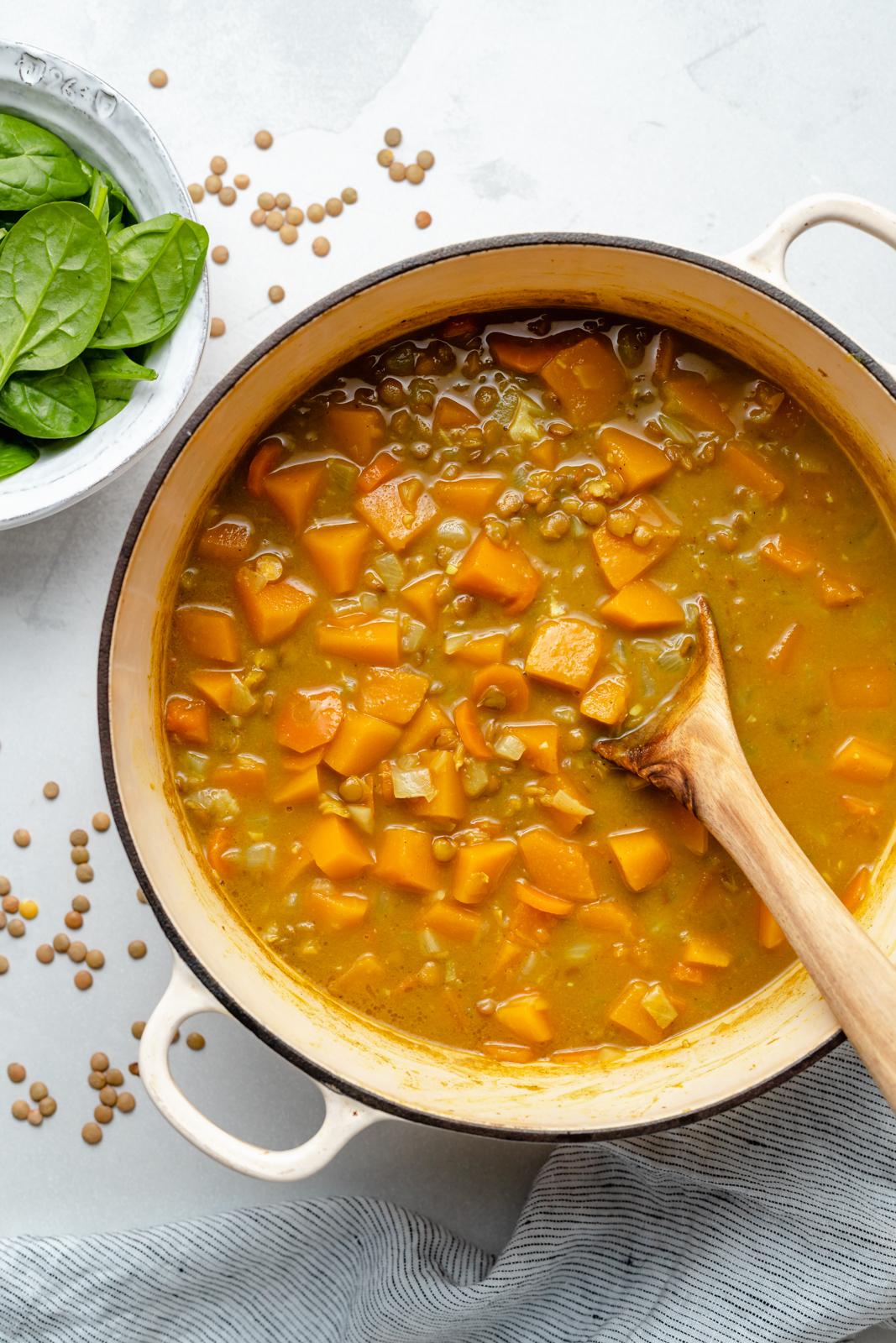 Curry-Butternut-Kürbis-Linsensuppe im Topf