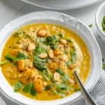 vegan butternut squash lentil soup in a bowl