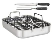 metal roasting pan with knives