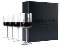 wine glasses next to a box
