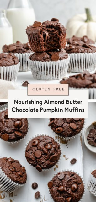 collage of gluten free almond butter chocolate pumpkin muffins