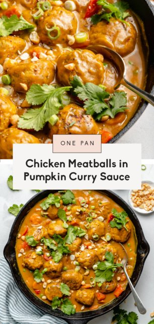 collage of chicken meatballs in pumpkin curry sauce