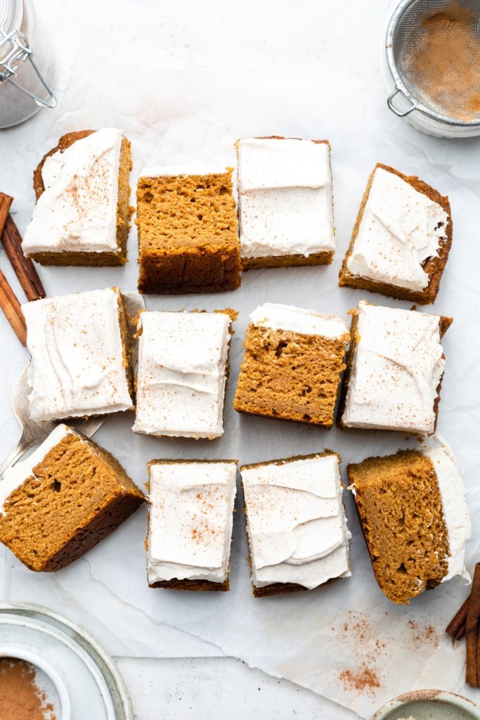 healthy pumpkin cake sliced on parchment paper