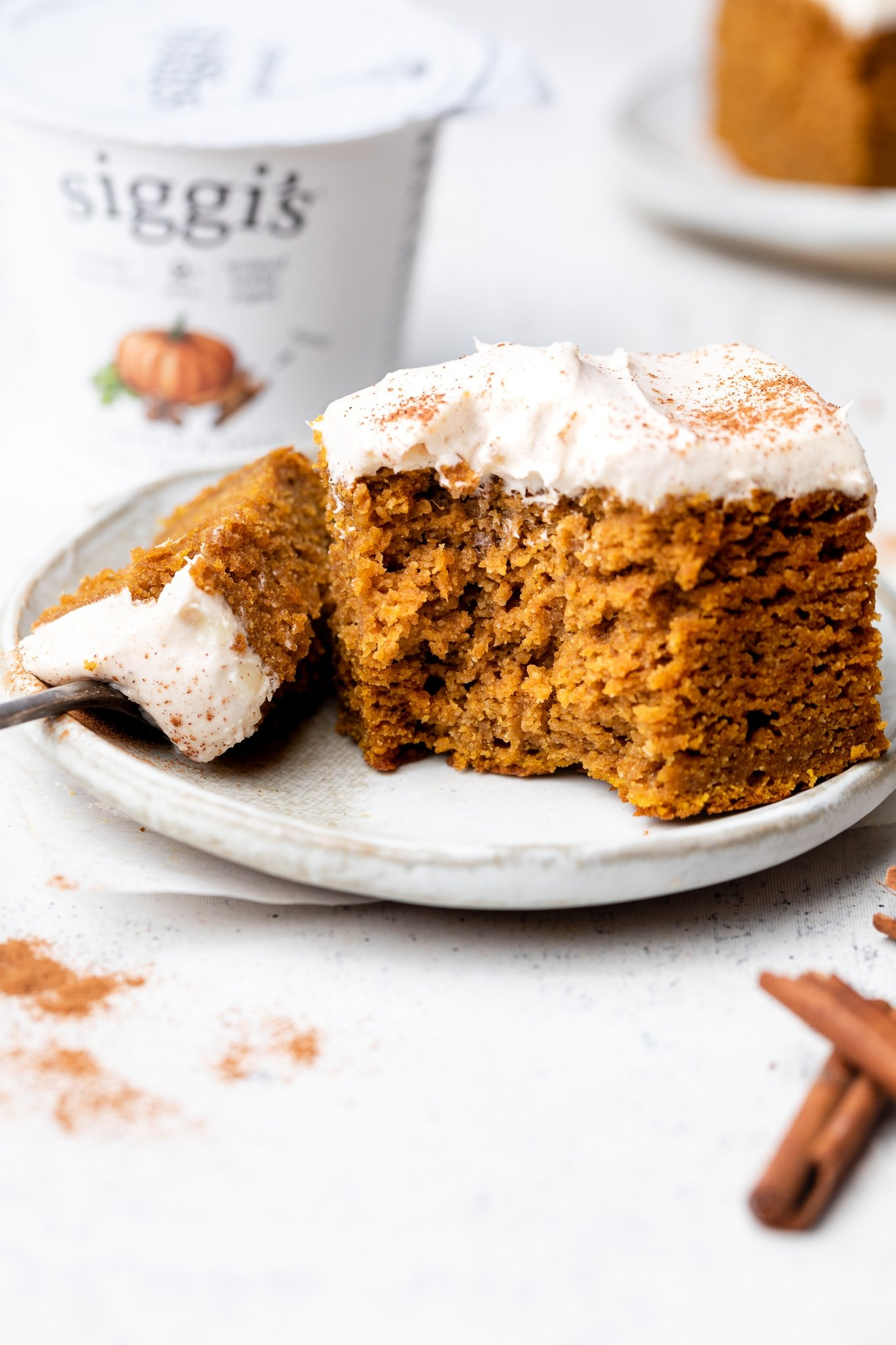 piece of healthy pumpkin cake on a plate