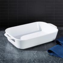white rectangular baking dish