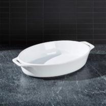 white oval baking dish